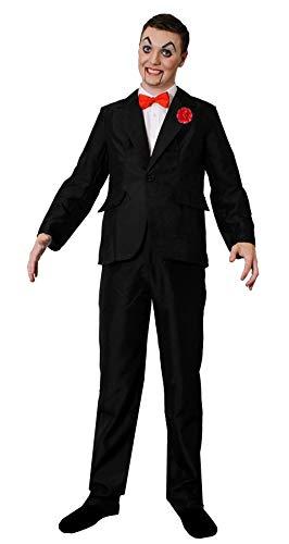 BAUCHREDNER Halloween MÖRDER Puppen KOSTÜM VERKLEIDUNG=BEINHALTET- SCHWARZEN Hosenanzug+ROTE Fliege+ROTE Plastik NELKE + ROT/SCHWARZ/WEISSES Make UP=XLarge