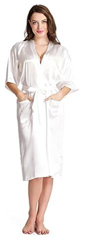 Aibrou Damen Morgenmantel glatte Satin Nachtwäsche Bademantel Kimono Negligee Seidenrobe locker Schlafanzug Glanz Look lang