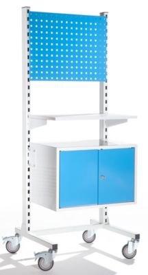Mobiles Werkstattpult mit Ordnerschrank und Lochwand - Ordnerschrank, Breite 640 mm - Stehtische...