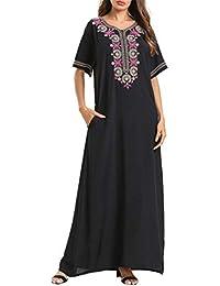 Maxi Kaftan Vestido Mujer Abaya - Ropa Arabe Musulmana Islámicos Jalabiya Tallas Grandes Bordado Vintage Manga