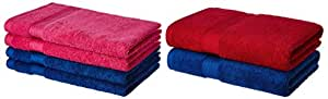 Amazon Brand - Solimo 100% Cotton 2 Piece Bath Towel Set, 500 GSM (Iris Blue and Spanish Red) and 100% Cotton 4 Piece Hand Towel Set, 500 GSM (Iris Blue and Paradise Pink) Combo