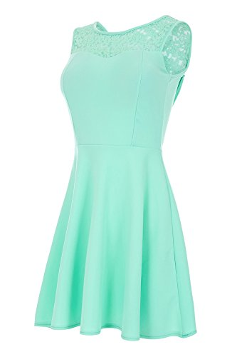 Laeticia Dreams Damen Kleid Mini mit Spitze und Schleife S M L, Farbe:Mintgrün;Größe:36 (Party Mini Heiße Cocktail)