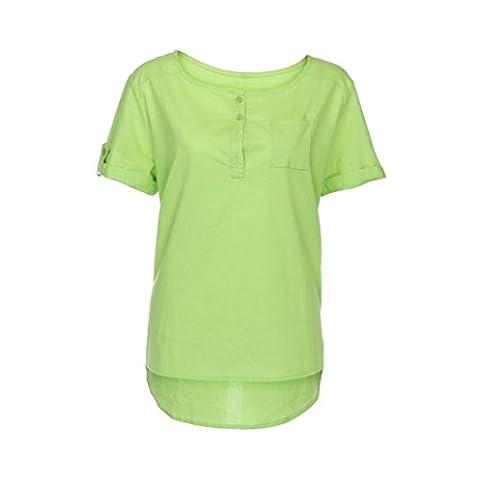 FEITONG Women Summer Casual Short Sleeve Loose T Shirt Cotton Linen Blouse Tops (S, Green)