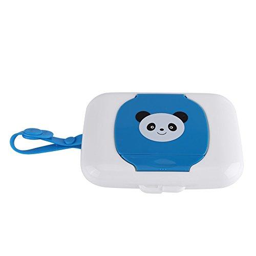 Zerodis Feuchttücherbox Baby Feuchttücher Panda Kasten Wet Tissue Case für Outdoor Reise Tragbar Wiederverwendbar(White + Blue)