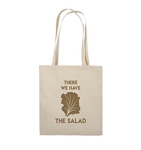 Comedy Bags - THERE WE HAVE THE SALAD - Jutebeutel - lange Henkel - 38x42cm - Farbe: Schwarz / Silber Natural / Hellbraun