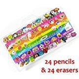 Dealer4orever - Set di 24 matite con gomma da cancellare, divertenti e colorate