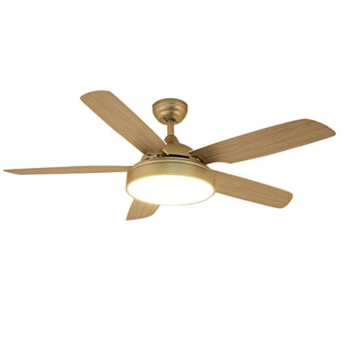 Ceiling fan light 3-Blatt-Einzellicht-Deckenventilator mit gebeizten Eichenblättern und LED-Lüfter, Massivholz -