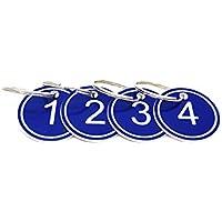 Llavero con anillo, etiquetas de identificación de número grabado, 50 unidades, color azul 1 to 50