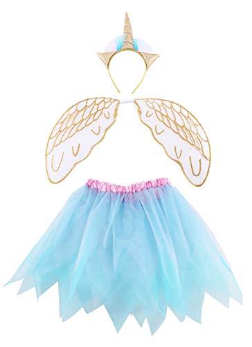 FELIZHOUSE Halloween-Kostüm für Mädchen – Einhorn Stirnband Teufelshörner Flügel Tutu