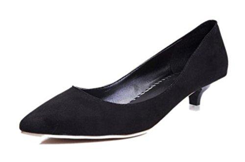 LDMB Frauen Wildleder Dünn Mit Niedrig-Heeled Schuhe Spitz Zehe Flachen Mund Arbeit Einzelne Schuhe schwarz  [B06X9L9FZ9]