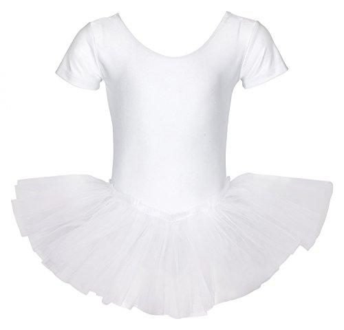 """tanzmuster Kinder Ballett Trikot Ballettanzug """"Alina"""" mit Tutu-Röckchen - Balletttutu aus 3-lagigem Tüll. Zauberhaftes Ballettkleid für Mädchen in weiß, Größe:152/158"""