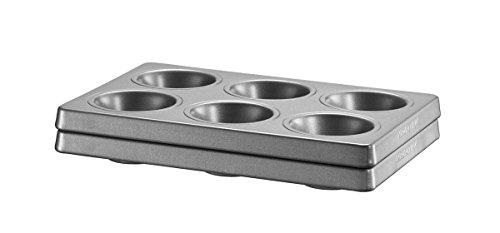 Kitchenaid KBNSS06MF Set de 2 Moules pour 6 Muffins, Acier, Noir, 18 x 27 x 5 cm