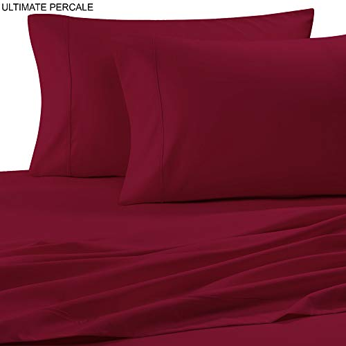 Ultimate Percale Bettlaken-Set aus Perkal, Fadenzahl 400, 100% Baumwolle, mit Kissenbezug, tiefer Tasche, inkl. knackigem und kühlem Kissenbezug-Set. Standard Fuchsia - Luxuriöse 400 Thread