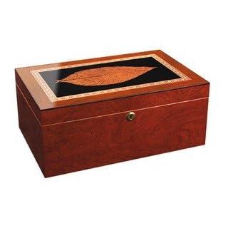 Adorini Humidor Venezia grande – Deluxe Aufbewahrung für 150 Zigarren mit Tabak-Blatt Dekor, Hygrometer und Befeuchter