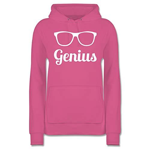 Shirtracer Nerds & Geeks - Genius Schrift mit Brille - weiß - S - Rosa - JH001F - Damen Hoodie