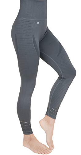 Prosske Damen Sport Leggings High Waist DLL1 Laufhose Fitnesshose Sporthose Atmungsaktiv - Grau, S