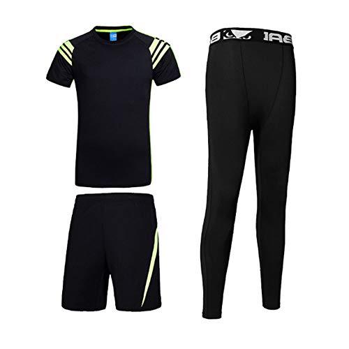 QJKai 3 PC Mens Kurzarm Fitness Kleidung Set, Summer Schnell trocknendes atmungsaktives T-Shirt + Shorts + Kompressionshose Sport-Set, Gymnastiktraining Laufsportbekleidung Anzug