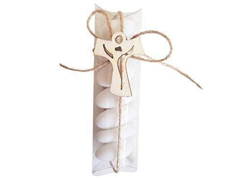 Irpot - kit 24 porta confetti 05210 + decorazioni in legno + 24 mt juta + bigliettini (croce tao 1130018)