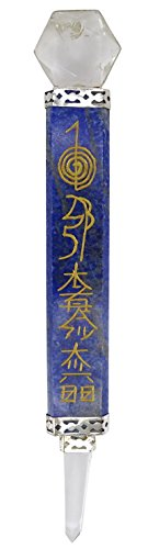 li Stein Hand Handwerk Gravierte Kristalle Flache Heilstab mit Clear Quartz Reiki ()