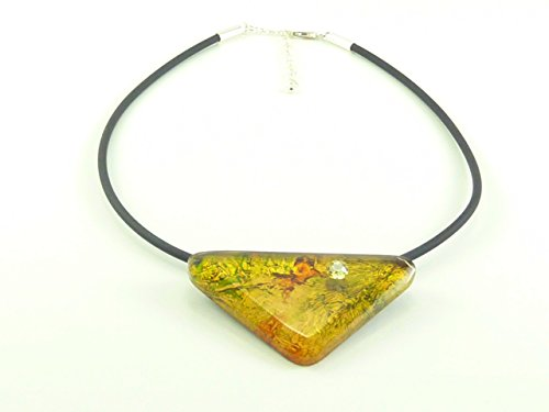 Damen Halskette Schmuckanhänger Kautschukband mit Swarovski®-Stein Gelb Dreieck