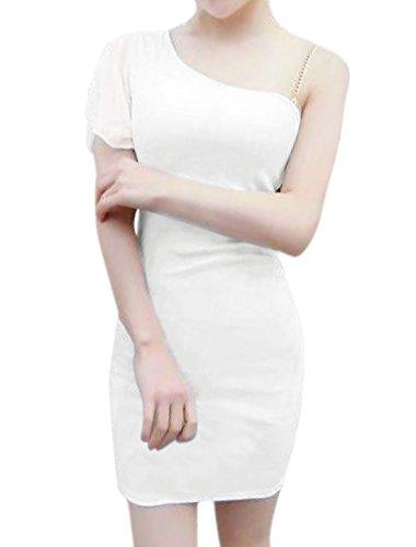 sourcingmap Femme Une Épaule Lanière Chaîne Mini Robe Bodycon Blanc