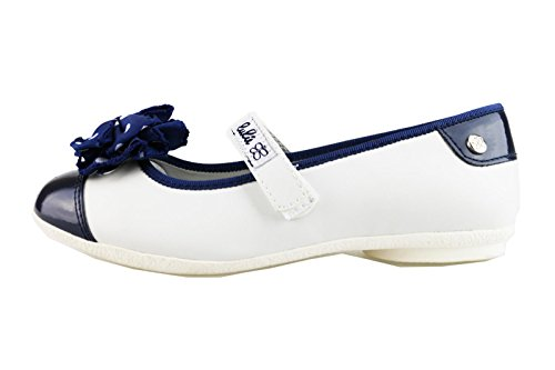 scarpe bambina LULU' ballerine bianco / blu pelle / vernice AG650 (35 EU)