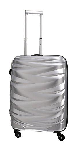 PURE Koffer WAVE / Hartschale / 70 cm / L / großer Koffer / Trolley / robustes PET / silber / 4 Rollen / TSA Zahlenschloss / 90 Liter Volumen