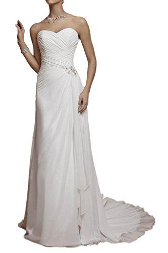 Milano Bride Einfach Traegerlos Chiffon Hochzeitskleider Brautkleider Etui Brautmode Steine Gefaltet mit kleine Schleppe Elfenbein