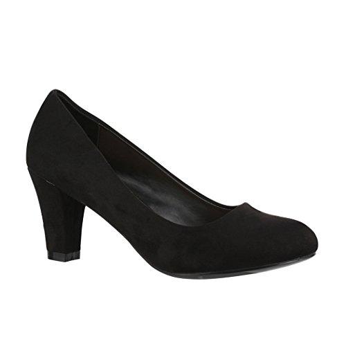 Elara Damen Pumps | Bequeme High Heels Trichterabsatz | Vintage-Style | Chunkyrayan 7055-P-Black-37