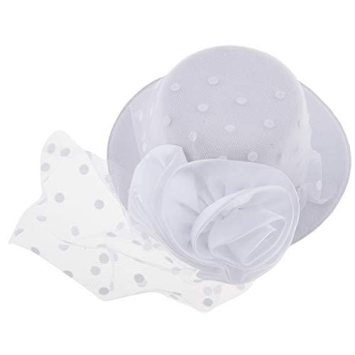 (F Fityle Kinder Mädchen Fascinator Mini Hut Fotoshooting Hut Mütze - Stil 2-Weiß)