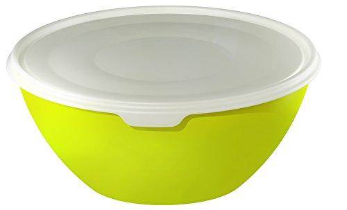 Rotho 1797305070 Ciotola con coperchio, ideale come insalatiera, perfetta per conservare e trasportare alimenti, priva di BPA, capacità 8 l, circa 35,5 x 35,5 x 15,5 cm, verde/trasparente