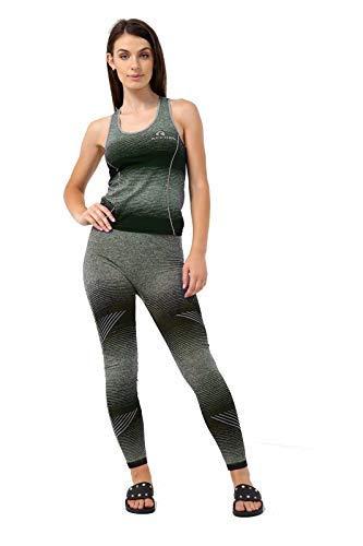 vr7 - leggings da donna, 2 pezzi, per palestra, sport, yoga, fitness, design 2:black, l/xl 10-12