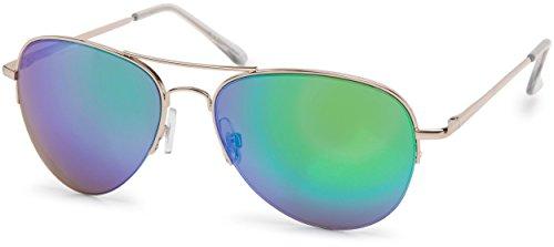 styleBREAKER Sonnenbrille verspiegelt, Pilotenbrille getönt mit Federscharnier, Unisex 09020037, Farbe:Gestell Halbrand Gold/Glas Grün