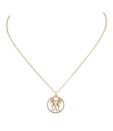 (SIX Damen Halskette, Sternzeichen, Zwilling, Statement Kette, Anhänger, Symbol, Gold (758-929))