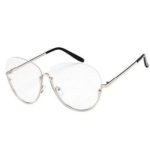 Herren Polarisierte Sonnenbrille Freizeit-Stil Semi-Randlose polarisierte Sonnenbrille für Frauen Männer Große Runde PC-Objektiv Sonnenbrille Unisex UV-Schutz Übergroße Dame Sonnenbrille für das Fahre