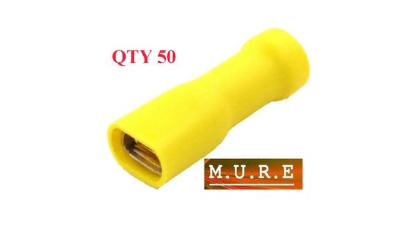 6.3 yellow terminal crimp connector push on female spade crimps 25 50 100 pack 25
