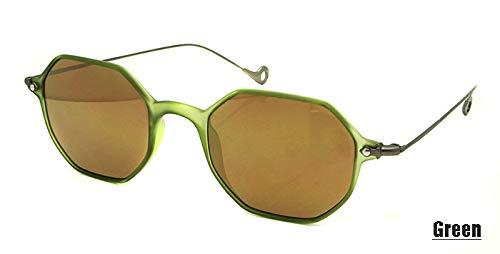 LKVNHP Italien Designer Kleines Rechteck Frauen Sonnenbrillen Männliche Lünette De Soleil Tr90 Rahmen Beschichtung Objektiv Sun Glass Uv400Grün Runde Sonnenbrille