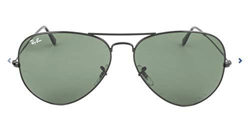 Ray Ban Unisex Sonnenbrille Aviator Large Metal II, Gr. X-Large (Herstellergröße: 62), Grün (Gestell: Schwarz, Gläser: Kristall Grün)