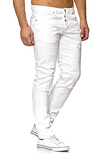 Tazzio Slim Fit Herren Destroyed Look Stretch Jeans Hose Denim 16525 (29/34, White) -