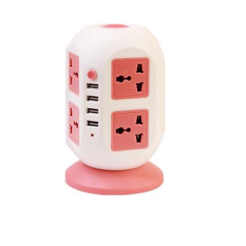 Intelligent Power Strip vertikal Socket Board Multiple Sockets 4 USB Extension Tower Typ Überlast Schutz Lightning-Proof Buchse für Heim-und Büro-Appliances , roses red