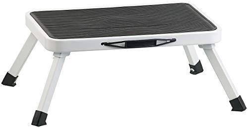 AGT Klapp Tritthocker: Rutschfester Klapptritt aus Stahl, mit Sicherung, belastbar bis 150 kg (Fußbank)