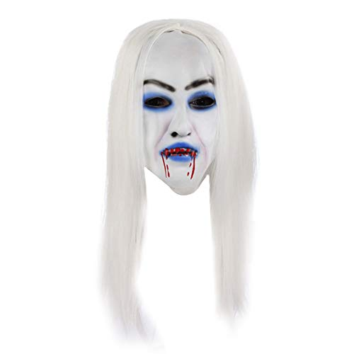 Namgiy Halloweenmaske für Kostüm, Kostüm, Cosplay, Erwachsene, Herren, Frauen, gruselige Maske mit weißem Gesicht und weißer Langer Perücke, Emulsion, 27 x 20 cm