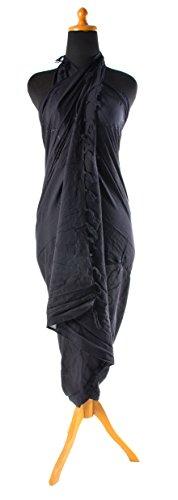 Ca 48 Modelle Sarong Pareo Wickelrock Strandtuch Handtuch Lunghi Dhoti ca. 170cm x 110cm mit Toller Stickerei Handarbeit viele Modelle Schwarz
