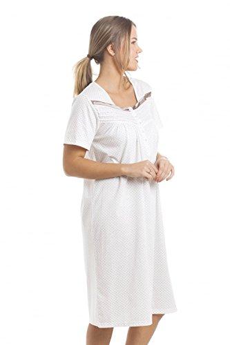 Nachthemd - knielang & kurzärmelig - weich & bequem - nerzbraune Punkte Braun