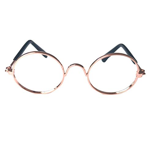 JKRTR Haustierkleidung 2019,Mode Sonnenbrillen Fotos Requisiten Spaß(Gold,8x7.5x3cm)