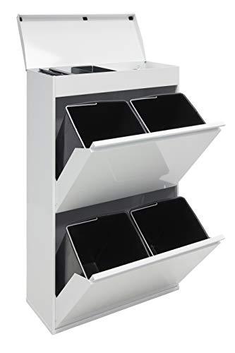 Arregui Cubo de Basura y Reciclaje de Acero de 4 Cubos y Bandeja Superior Multiusos, Blanco, 97,5 x...