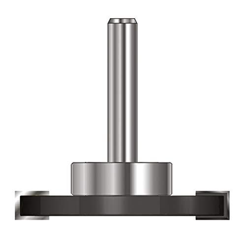 ENT 13972 Scheibennutfräser HW (HM), Schaft (C) 8 mm, Durchmesser (A) 40 mm, B 4 mm, d 19 mm, T 10,5 mm, GL 54 mm, auf Spindel montiert mit Kugellager 19 mm -