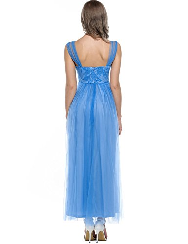 ZEARO Damen Elegant Spitze Cocktailkleid Abendkleid Partykleid Maxikleid  Strandkleid Blau