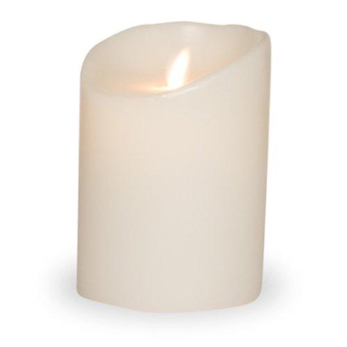 Sompex Vela Flame LED Classic, Vela Eléctrica de Cera Real, con Temporizador y Parpadeo, sin Llama, 9,5 x 12,5 cm, Color Blanco, 35703