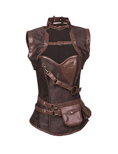 Lover-Beauty Corset Mujer Vintage Gótico Gótico Corsé Shapewear Overbust Steampunk Top Corset Brocado Cadenas de Metal Rockabilly Corset Steel Bone